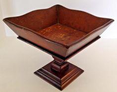 Vintage Mid Century Wood Wooden Fruit Bowl Pedestal Square Modern Mid Mod Stone