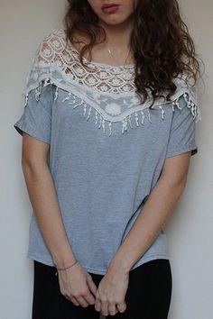Lace Cutout Batwing Sleeve T-Shirt (GRAY,L) | Sammydress.com