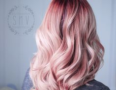 deep raspberry red root and pastel baby pink