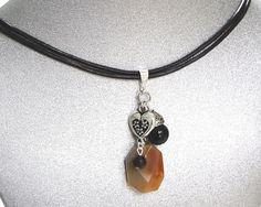 Natural Gemstone Orange Black Agate Pendant Necklace Heart Charm Chakra USA #Handmade #PendantNecklaceandDropEarrings