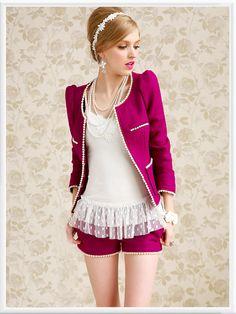 Morpheus Boutique  - Hot Pink White Edge Round Neck Long Sleeve Jacket