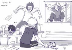 Sero, Kirishima and Kaminari being afraid of a spider? Relatable XD Bakugou squishing the spider not fazed at all? My Hero Academia Shouto, Hero Academia Characters, Comic Anime, Anime Meme, Hiro Big Hero 6, Bakugou Manga, Anime Lindo, Fan Art, Funny Comics