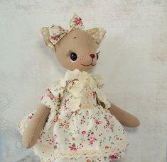 Cute stuffed animal Cat art doll poseable Plush toy cat beige Girlfriend gift Birthday gift