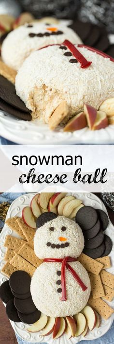 This White Chocolate Toffee Cheese Ball is an easy, no bake dessert that's perfect for any season! Shaped into a snowman, it makes a great addition to a holiday table. Easy to make ahead and freezer friendly!