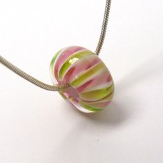 Handmade #lampwork big hole bead   -  Pink & Lime Twist  -  great for sliding onto a chain for a quick necklace.