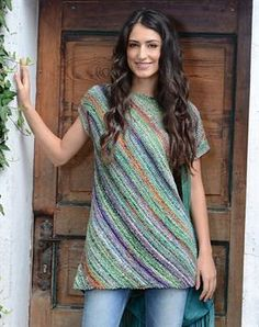 "Noro Kibou ""Midori"" Tunic.  This beginner knit top is simply constructed on the diagonal!  Uses 4 hanks of Kibou and size 7 needles. http://www.jimmybeanswool.com/knitting/yarn/Noro/Kibou.asp"