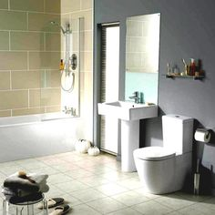 Bathroom:Square White Sink Square Tall Mirror Glass Wall Rack Toilet Holder Toilet Seat Hand Shower Interior Bathroom Design Simple Ways To Make A Small Bathroom Look Bigger Bathroom Ideas for Small Spaces to Make It Looks Bigger