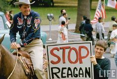 Gubernatorial candidate Ronald Reagan and protester, California, by Bill Ray, 1966