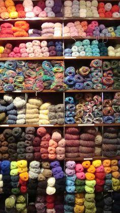 Fabulous yarn wall in a shop in Copenhagen