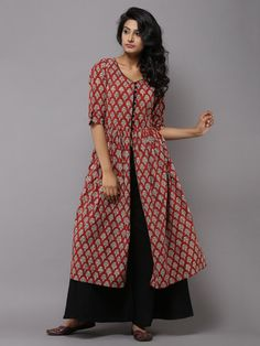Red Cotton Gathered Cape Maxi Dress or Tunic