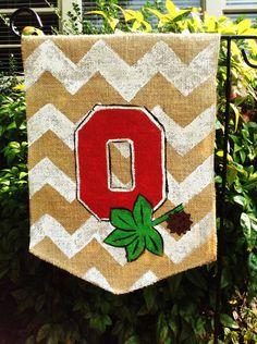 Burlap Garden Flag Ohio State Buckeyes by ModernRusticGirl on Etsy, $22.00
