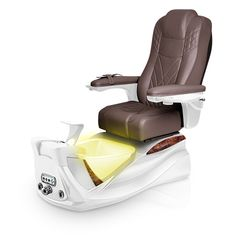 Infinity pedi-spa shown in Walnut Ultraleather cushion, White Pearl base, Aurora LED Color-Changing bowl (shown in yellow)