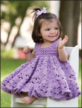 Crochet toddler dress - top in bubble stitch then work the skirt from the bodice downwards, increasing as you go