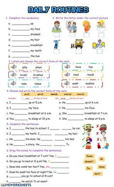 Daily Routines online exercise and pdf. You can do the exercises online or downl… Daily Routines online exercise and pdf. Nouns Worksheet, Reading Comprehension Worksheets, Grammar Worksheets, Worksheets For Kids, Multiplication Worksheets, Printable Worksheets, Daily Routine Worksheet, Daily Routine Activities, Daily Routines