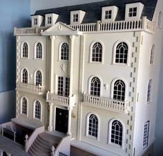 Exterior (1) Two Story House Plans, Doll House Plans, Dream House Plans, Old Fashioned House, Victorian Homes Exterior, Dolls House Shop, Diy Doll Miniatures, French Style Homes, House With Porch