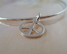 Peace Symbol Bangle Sterling Silver Rustic Charm by aroluna, $40.00