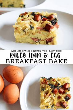 This paleo ham and egg breakfast bake makes busy mornings a breeze! It's dairy-free, grain free, gluten free, paleo and Whole30 compliant. #finishedwithsalt #healthy #whole30 #easy #paleo #breakfastcasserole | finishedwithsalt.com