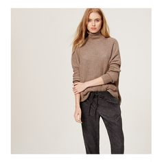 LOFT Petite Front Pocket Sweater (€46) ❤ liked on Polyvore featuring tops, sweaters, cocoa cream melange, slouchy turtleneck sweater, slouchy sweater, chunky cream sweater, chunky sweater and long sleeve sweaters