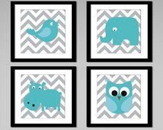 Chevron Animals Print Grey /Aqua by Babies Artroom | Design By babiesartroom | StuckUp!