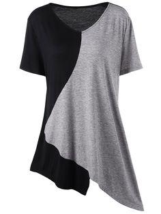 Asymmetrical Color Block Plus Size T-Shirt