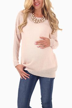 Light Pink Basic Knit Maternity Sweater Top, whole store has cute maternity clothes for cheap
