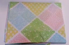KING Flat Vtg Sheet Pastel Patchwork Small Florals Pink Yellow Blue Green Cutter