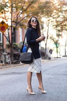 windowpane skirt banana republic skirt coach cross body black bag leather bag dvf bethany heels nude zara printed wrap skirt nordstrom sunglasses what to wear to work in the fall new york fashion blogger corporate catwalk work outfits #weartoworkskirt
