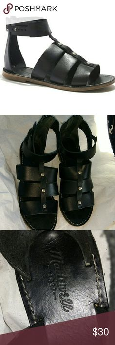 Madewell Rowan black leather gladiator sandal Gently worn. Leather upper. Has silver hardware. Has a zipper in the back. Excellent gently worn condition. Madewell Shoes Sandals