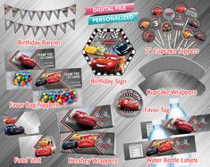 10 CARS 3 Movie Lightning McQueen Tow Mater Cruz Large Hersheys Candy Bar Wrappers
