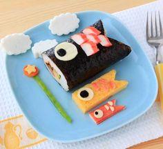 koinobori obento  こどもの日のランチプレート-巻き寿司で鯉のぼり