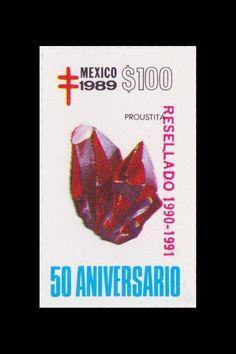 Sello: Minerales. Pais: México. Año: 1989 - 50 aniversario. Valor 100 pesos mexicanos (1 peso mexicano = 0,0452 €). Descripción: PROUSTITA.