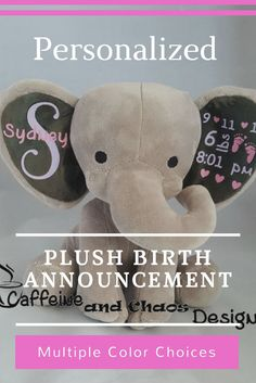 What a perfect way to celebrate and mark the birth of a child, a personalized plush animal! #Personalized #birthannouncement #plushtoy #ad #babygifts #babyshowerdecorations