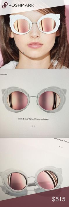 Chanel Camellia white flower round sunglasses 2017 Brand new Chanel Camellia white sunglasses with pink mirrored lenses and silver hardware. Comes with case. Chanel etched in the corner of the lenses CHANEL Accessories Sunglasses