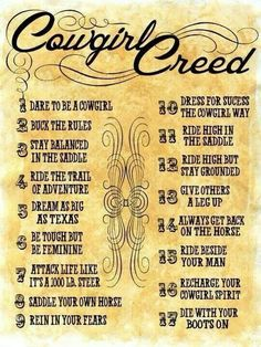Cowgirl Creed...