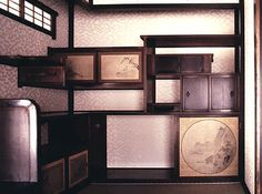 Interior shelving in the main villa, Katsura Imperial Villa, Kyoto, Japan.
