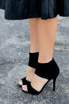 Velvety black heels with a thick ankle. B.Brian Atwood