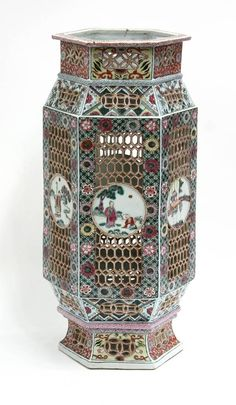 chinese porcelain lantern | 6556: Chinese Reticulated Porcelain Lantern : Lot 6556