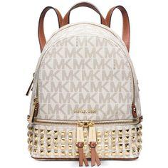 Michael Michael Kors Rhea Zip Extra Small Studded Backpack ($246) ❤ liked on Polyvore featuring bags, backpacks, purses, bolsas, bookbags, vanilla, backpacks bags, studded backpack, studded bag and white studded backpack