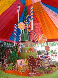 Decoración con dulces y caramelos. Fiesta temática de Hansel & Gretel. www.fiestamatch.com.ve