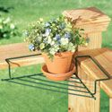 """Set of 2 Corner Flower Plant Caddies Corner Caddies are the perfect way to brighten up some unused space on your deck, patio or porch railings. Simply place the sturdy wire caddy on an inside corner and set your favorite plant on top. Arm rests fit securely on the railing. Coated steel. Set of 2. Each 13 1/2""""L x 7""""W x 2""""H.$9.99  http://savewithusdeals.blogspot.com/"""