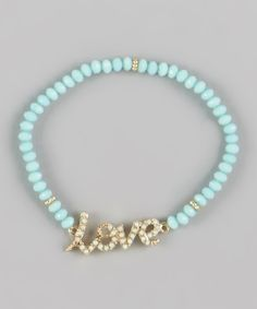 Turquoise Gold 'Love' Stretch Bracelet