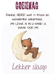 Good Night Wishes, Good Night Sweet Dreams, Goeie Nag, Special Quotes, Morning Greeting, Afrikaans, Qoutes, Words, Sleep Tight