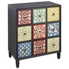 "Cubist Chest, $150 + $40 xs/h, on clearance!, @ P1, 27.75""W x 15.75""D x 32""H Fir wood, engineered wood, wood, metal Hand-painted"