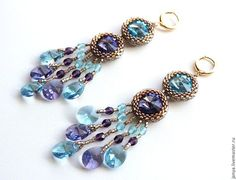 """Earrings with Swarovski crystals and Czech beads """"Mood"""" 