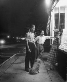Walking the dog at night with friends. NY (1948)