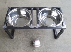 This handcrafted pet feeder elevates your pets food/water to a more comfortable level. It features 2 removable stainless steel bowls of 2 quart capacity. The frame is fully welded and has a clear coat. Industrial Metal, Industrial Style, Dog Bowl Stand, Grades, Pet Feeder, Desktop Organization, Steel Doors, Welding Projects, Dog Bowls