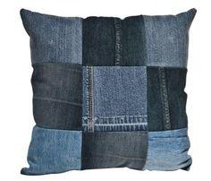 Upcycled Denim Patchwork Cushion