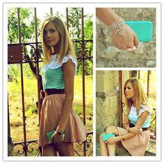 Contrast Panel Cut Out Short Sleeve T-shirt & Cut Out Lace Chain Bracelet