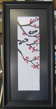 "https://flic.kr/p/5HPUAm | Chickadees on Branches | Completed fused glass commission. 12"" X 27"""