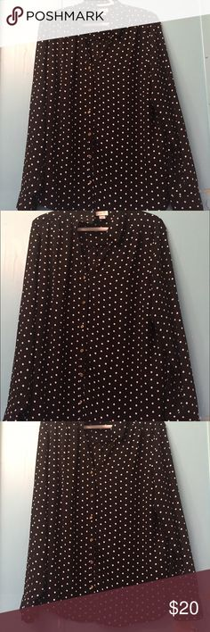 🌹JACLYN SMITH polka dot blouse extra large 🌹 Brand new Jaclyn smith collection black and white polka dotted lightweight blouse with gold accents Extra large  Very lightweight and breezy Jaclyn Smith Tops Blouses